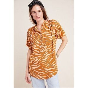 Maeve Women's Tiger Print Pullover Shirt Small